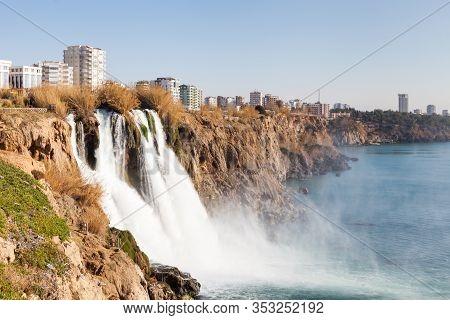 Antalya, Turkey - February 2:  The Waterfall From Duden River In Antalya, Southern Turkey Falls Into