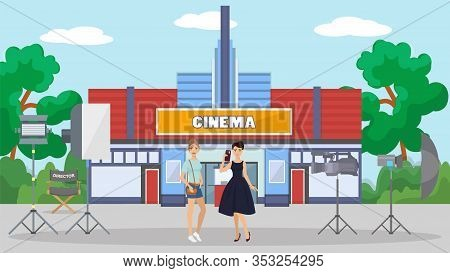 Two Beautiful Girls Actress On Filming Movie Set Vector Illustration. Film Shooting Break, Directors