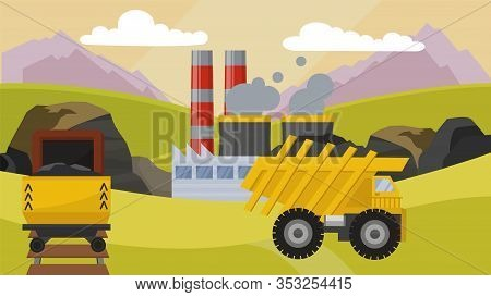Coal Mining Industry Facilities Concept Vector Illustration. Mine, Machine Dump Truck Rail Trolley E