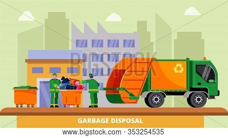 Garbage Disposal Truck Dustcart, Dumpsters And Two Scavengers Janitors People Sorting And Collecting