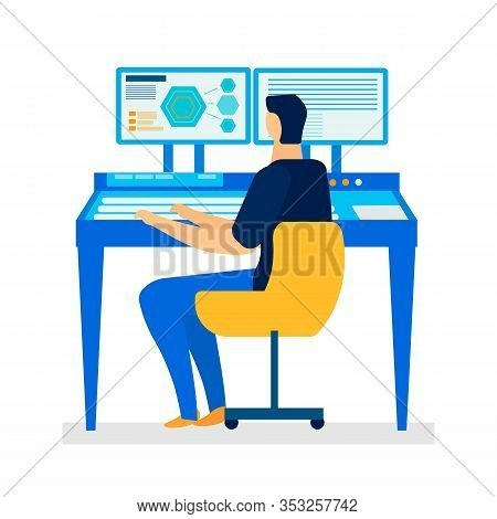 Computer Assisted Design Flat Vector Illustration. Cartoon Programmer, Designer, Engineer Working On