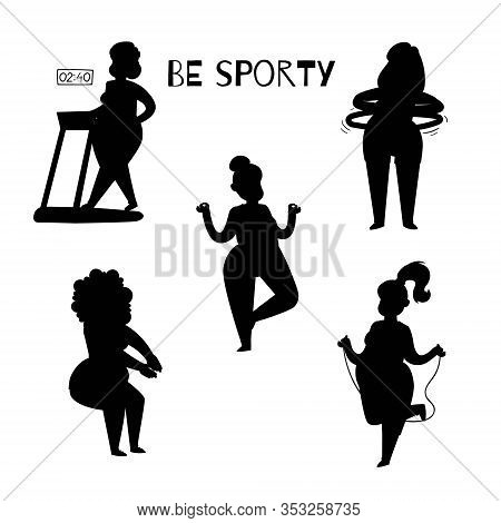 Fat Woman Silhouette Doing Sport Exercises, Cartoon Vector Illustration Isolated On White Background