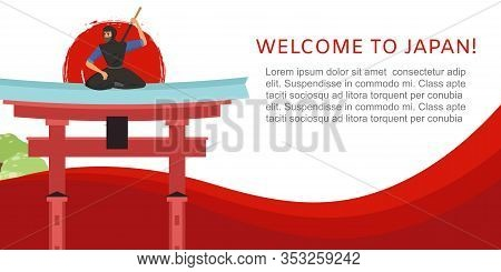 Welcome To Japan Travel Concept With Japanese Landmark, Samurai And Pagoda Vector Illustration Poste