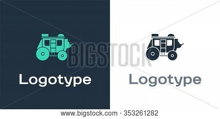 Logotype Western Stagecoach Icon Isolated On White Background. Logo Design Template Element. Vector