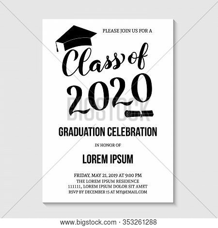 Graduation Party Invitation Card Template. Black And White Grad Party Invite. Graduation Celebration