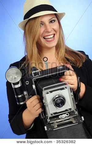Fun Blond Female Holding Old Camera