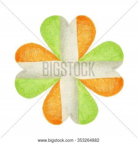 Four-leaf Shamrock In The Colors Of The Irish Flag. Patriotic Irish Clover. Hand-drawn Illustration