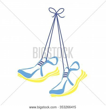 Sports Shoes And Shoelace Icon Isolated On White Background.