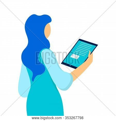 Woman Holding Tablet Flat Vector Illustration. Cartoon Girl Reading From Portable Device, Touchpad I