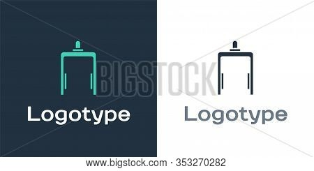 Logotype Metal Detector In Airport Icon Isolated On White Background. Airport Security Guard On Meta