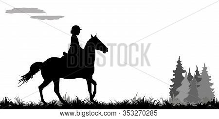 Girl Galloping On A Horse In A Field, On The Grass, Isolated Image, Black Silhouette On A White Back