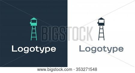 Logotype Watch Tower Icon Isolated On White Background. Prison Tower, Checkpoint, Protection Territo