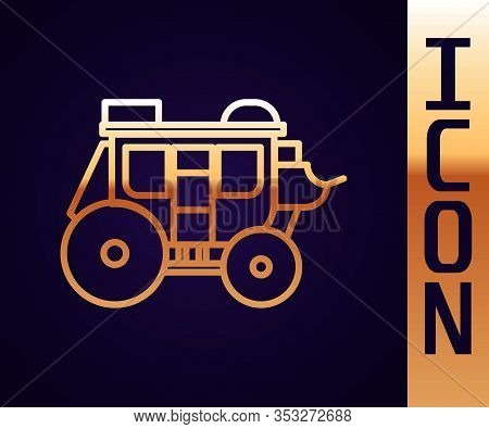 Gold Line Western Stagecoach Icon Isolated On Black Background. Vector Illustration