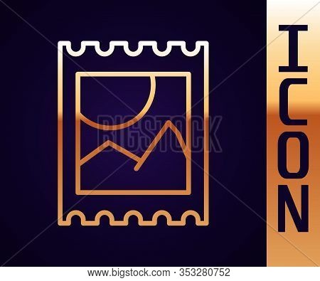Gold Line Lsd Acid Mark Icon Isolated On Black Background. Acid Narcotic. Postmark. Postage Stamp. H