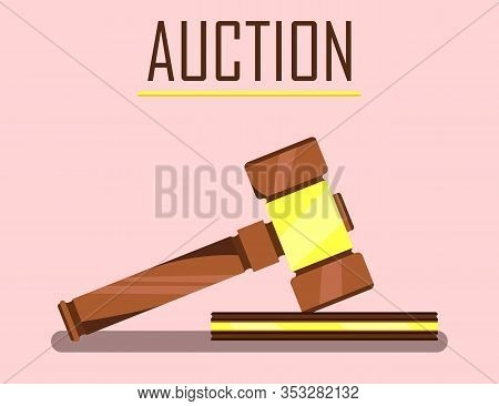 Auction Wooden Hammer On Stand Banner. Offering For Bid Vector Illustration. Auction House. Commerci