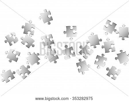 Business Brainteaser Jigsaw Puzzle Metallic Silver Pieces Vector Background. Group Of Puzzle Pieces
