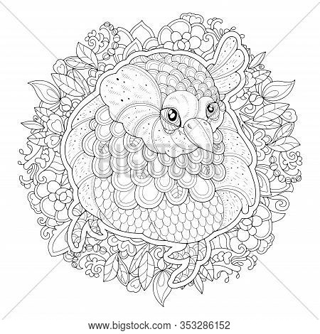 The Image Of A Sparrow Among The Leaves On A White Background. Image For Coloring Pages. Coloring Bo