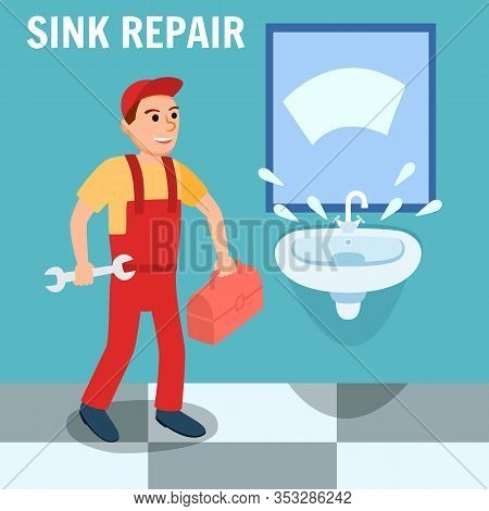 Sink Repair Banner. Plumber In Uniform Overall With Toolbox Wrench Instrument In Bathroom Vector Ill