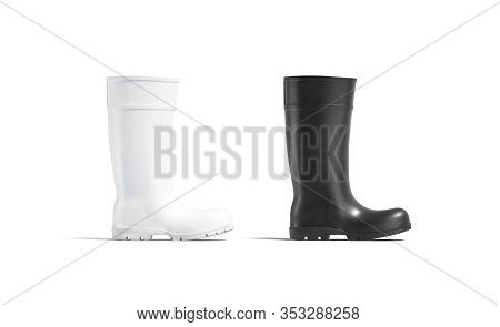 Blank Black And White Rubber Wellington Boot Mockup Set, 3d Rendering. Empty Wellies Overshoes For I