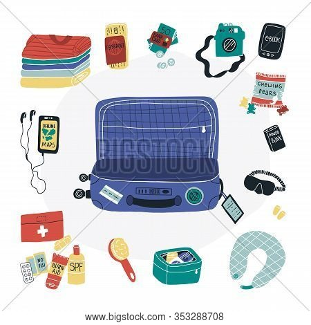 Travel Packing Fun Vector Set - Suitcase, Clothes And Some Travel Things Like First Aid Kit, Power B