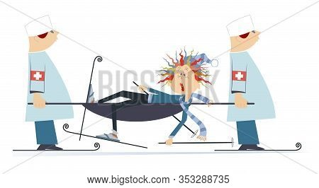 Injured Skier Woman And Two Physicians With A Stretcher Illustration. Two Physicians Carry Injured S