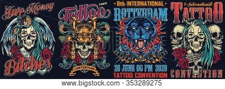 Vintage Tattoo Fests Colorful Posters With Tattoo Machines Snake Skull In Samurai Helmet Angry Black