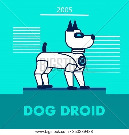 Dog Droid Promotion Flat Vector Banner Template. Artificial Intelligence Toy For Children. Kids Elec