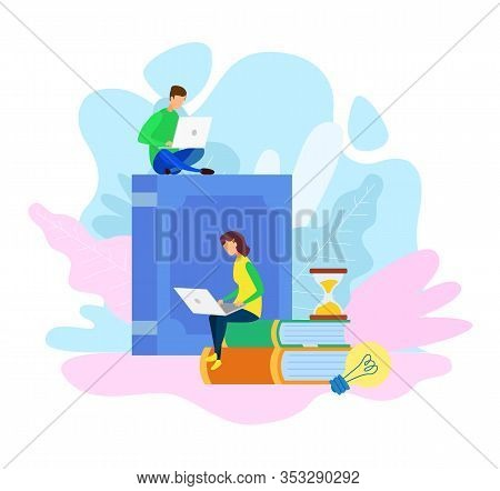 E-library Archive, E-learning Vector Illustration. University, College Exams Preparation. Freelancer