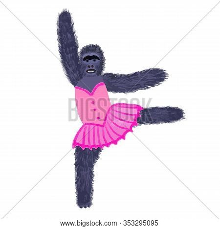 Children S Funny Illustration Of A Monkey-chimpanzee In A Ballerina Costume.beautiful Character Pink