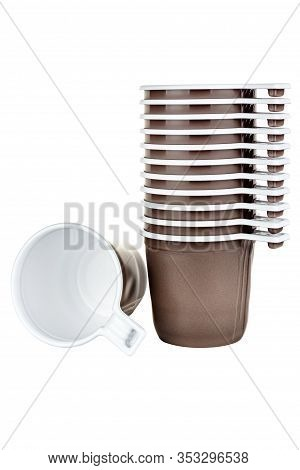 Set Of Eleven Unused Disposable White Plastic Mugs With Brown Satin Texture On The Outside And One L