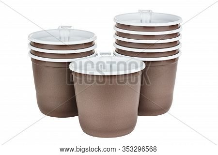 Standing One, Three And Five In Sets Unused Disposable White Plastic Mugs With Brown Satin Texture O