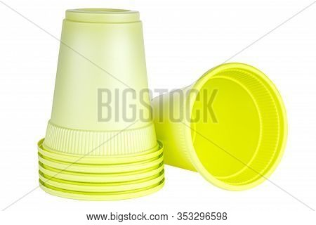 Lying One And Upside Down Five In Set Unused Green Disposable Cups Made Of Biodegradable Materials I