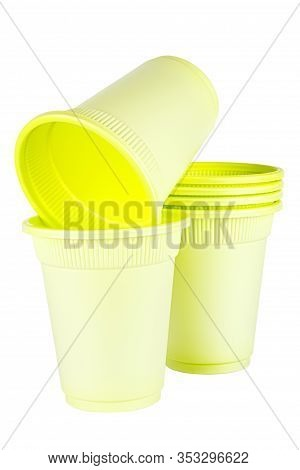 Unused Green Disposable Cups Made Of Biodegradable Materials Isolated On White Background
