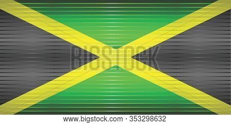 Shiny Grunge Flag Of The Jamaica - Illustration,  Three Dimensional Flag Of Jamaica