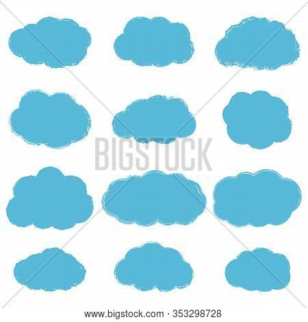 Vector Collection Of Light Blue Grunge Textured Clouds Isolated On White Background. Abstract Fluffy
