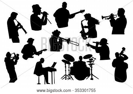 Set Black Silhouettes Of Musicians Isolated On White Background. Jazz, Rock Or Pop Band Musicians Pl