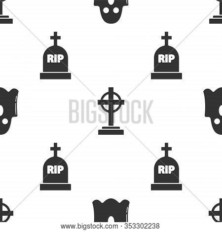 Set Ghost , Tombstone With Cross And Tombstone With Rip On Seamless Pattern. Vector