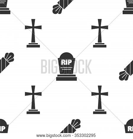 Set Candy , Tombstone With Rip And Tombstone With Cross On Seamless Pattern. Vector