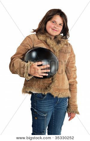 Smiling Teenage Girl With Jacket and Helmet