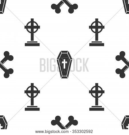 Set Crossed Bones , Coffin With Christian Cross And Tombstone With Cross On Seamless Pattern. Vector