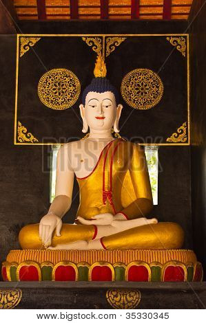 Buddha Statue In Ubosot Wat Chedi Lung
