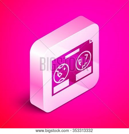 Isometric Celestial Map Of The Night Sky Icon Isolated On Pink Background. Starry Hemisphere. Planis