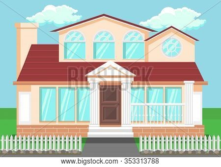 Luxury Countryside House Flat Vector Illustration. Detached Family House With Pillars, Columns. Hand