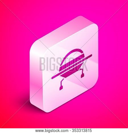 Isometric Ufo Flying Spaceship Icon Isolated On Pink Background. Flying Saucer. Alien Space Ship. Fu