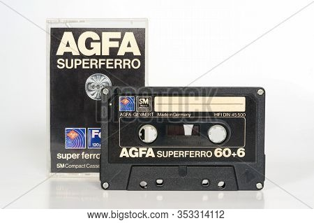 Agfa Superferro 60 Black, Audio Compact Cassette. Rare Vintage Audio Cassette With Sm Security Mecha