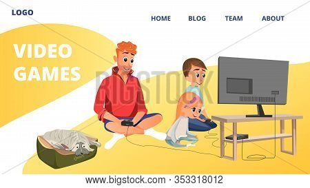 Video Games Banner. Cartoon Man, Boy, Girl Play Videogame Sit On Floor Room Vector Illustration. Dad