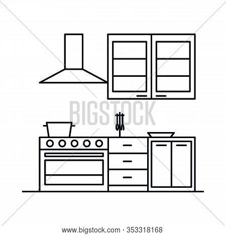 Interior With Kitchen, Range Hood, Stove, Cupboard, Bedside. Vector Interior With Kitchen, Range Hoo