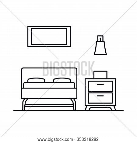 Interior With Bedroom, Bed, Bedside Table, Lamp. Vector Interior With Bedroom, Bed, Bedside Table, L