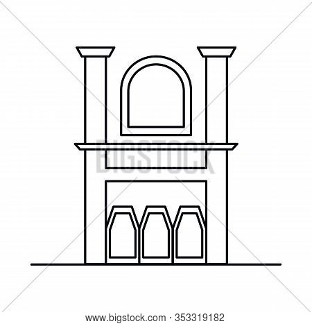 Interior With Fireplace, Window, Pillar. Vector Interior With Fireplace, Window, Pillar In Outline S