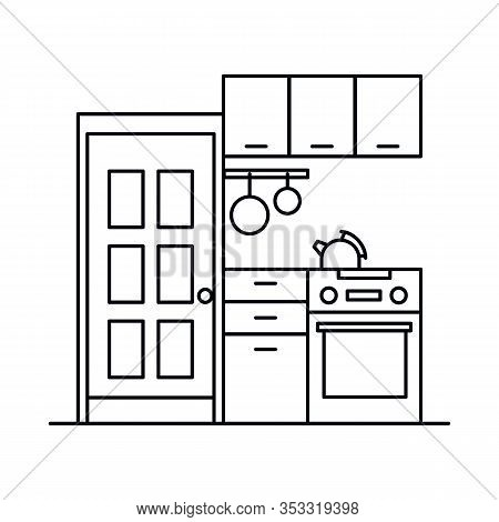 Interior With Cupboard, Kitchen, Cooking, Shelves, Dishes, Kettle, Door. Vector Interior With Cupboa
